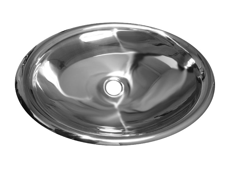 "Noah's Collection 22"" Mirrored Stainless Steel Drop-In/Undermount Bathroom Basin"