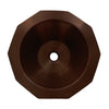 "Copperhaus 16"" Decagon Shaped Above Mount Copper Bathroom Basin with Smooth Texture and 1 1/2"" center drain"