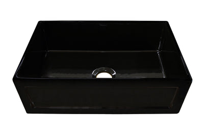 "Reversible Series 33"" fireclay kitchen sink with concave front apron"