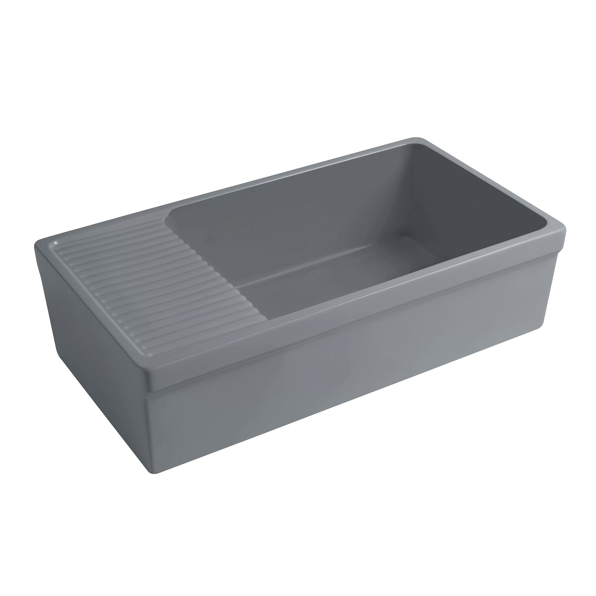 "Quatro Alcove 36"" large reversible fireclay kitchen sink with integral drainboard"