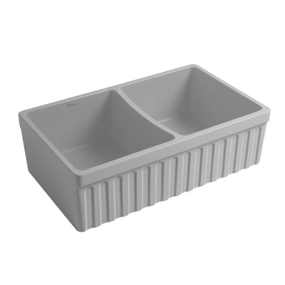 "Quatro Alcove 33"" reversible Farmhaus Fireclay Double Bowl Sink with a Fluted Front Apron and 2"" Lip"