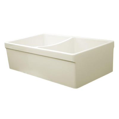 "Quatro Alcove 33"" reversible Double Bowl Fireclay Kitchen Sink with 2"" Lip on One Side"