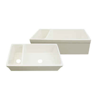 "Quatro Alcove 36"" Large Fireclay reversible Sink and Small Bowl"