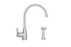 Queenhaus Single Lever Faucet with a Long Gooseneck Spout, Solid Single Lever Handle and Solid Brass Side Spray
