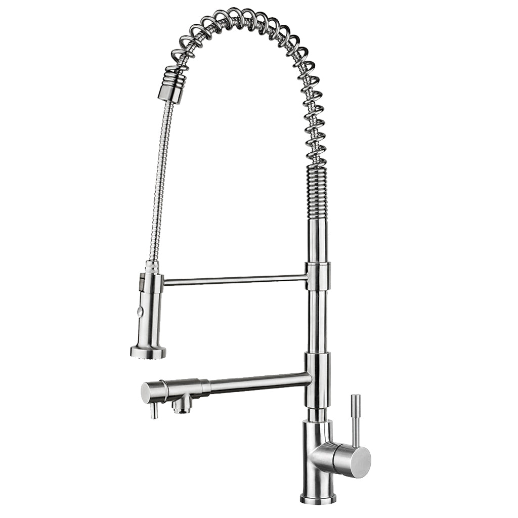 Lead Free, Solid Stainless Steel Commerical Single-Hole Faucet with Flexible Pull Down Spray Head, Swivel Support Bar & 2 Control Levers