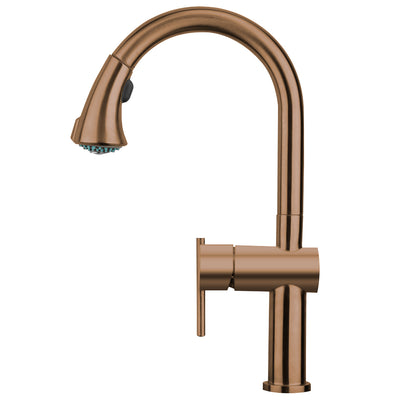 Waterhaus Lead Free, Solid Stainless Steel Single-Hole Faucet with Gooseneck Swivel Spout Pull Down Spray Head and Solid Lever Handle