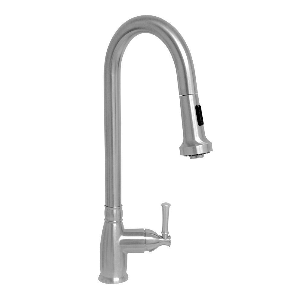 Waterhaus lead-free solid stainless steel single-hole faucet with gooseneck swivel spout, pull down spray head and solid lever handle