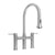 Waterhaus lead-free solid stainless steel bridge faucet with a gooseneck swivel spout, pull-down spray head and solid lever handles