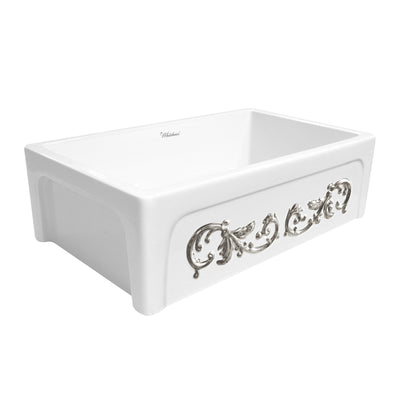 "St. Ives Ornamental 33"" reversible fireclay kitchen sink with enhanced vine design"