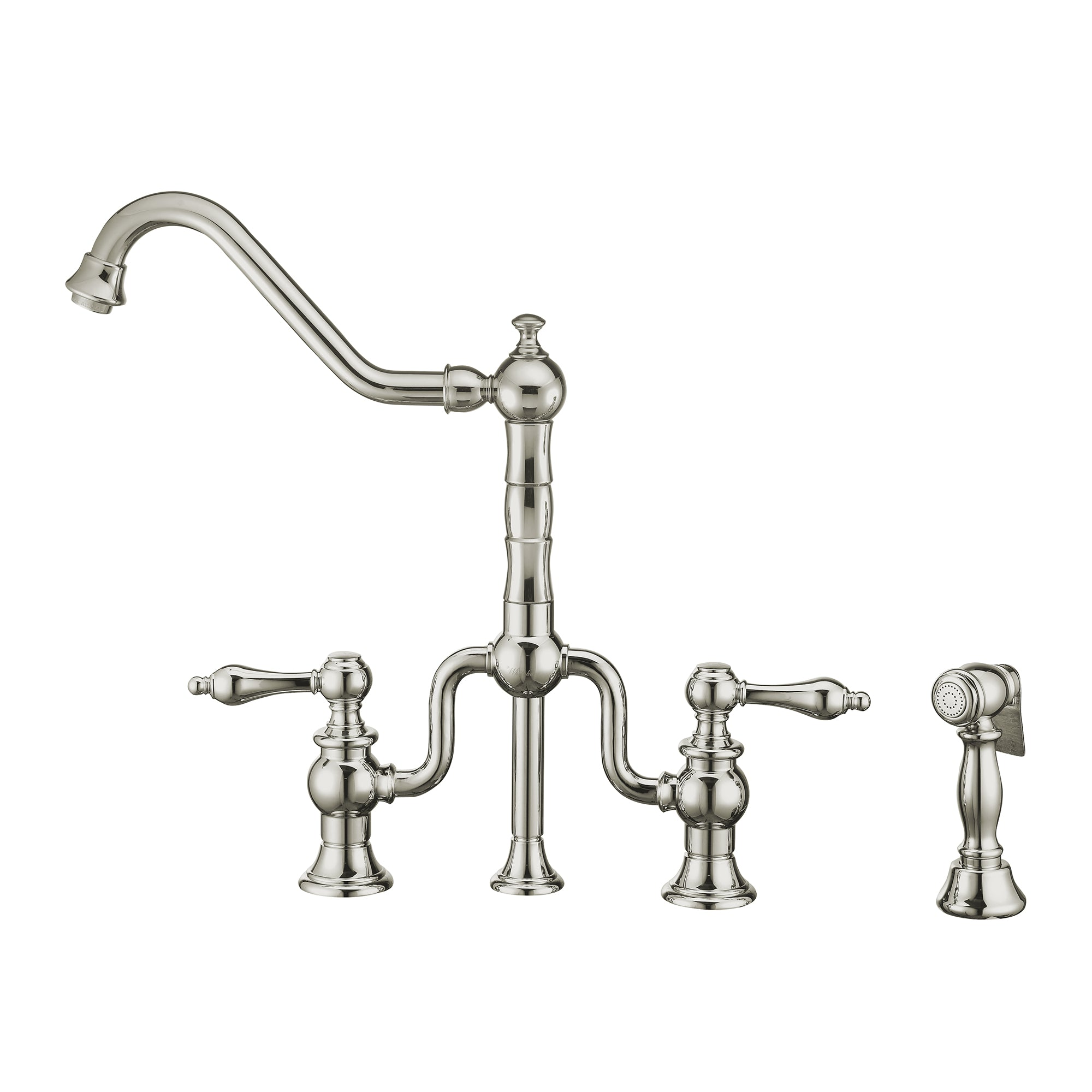 Twisthaus Plus Bridge Faucet with Long Traditional Swivel Spout, Lever Handles and Solid Brass Side Spray