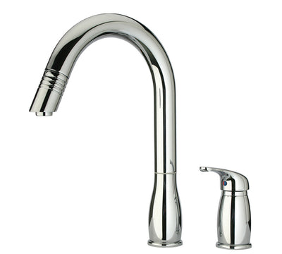 Metrohaus Two Hole Faucet with Independent Single Lever Mixer, Gooseneck Swivel Spout and Pull-Down Spray Head