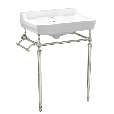 "Victoriahaus 23"" console with integrated rectangular bowl, Polished Brass leg support"