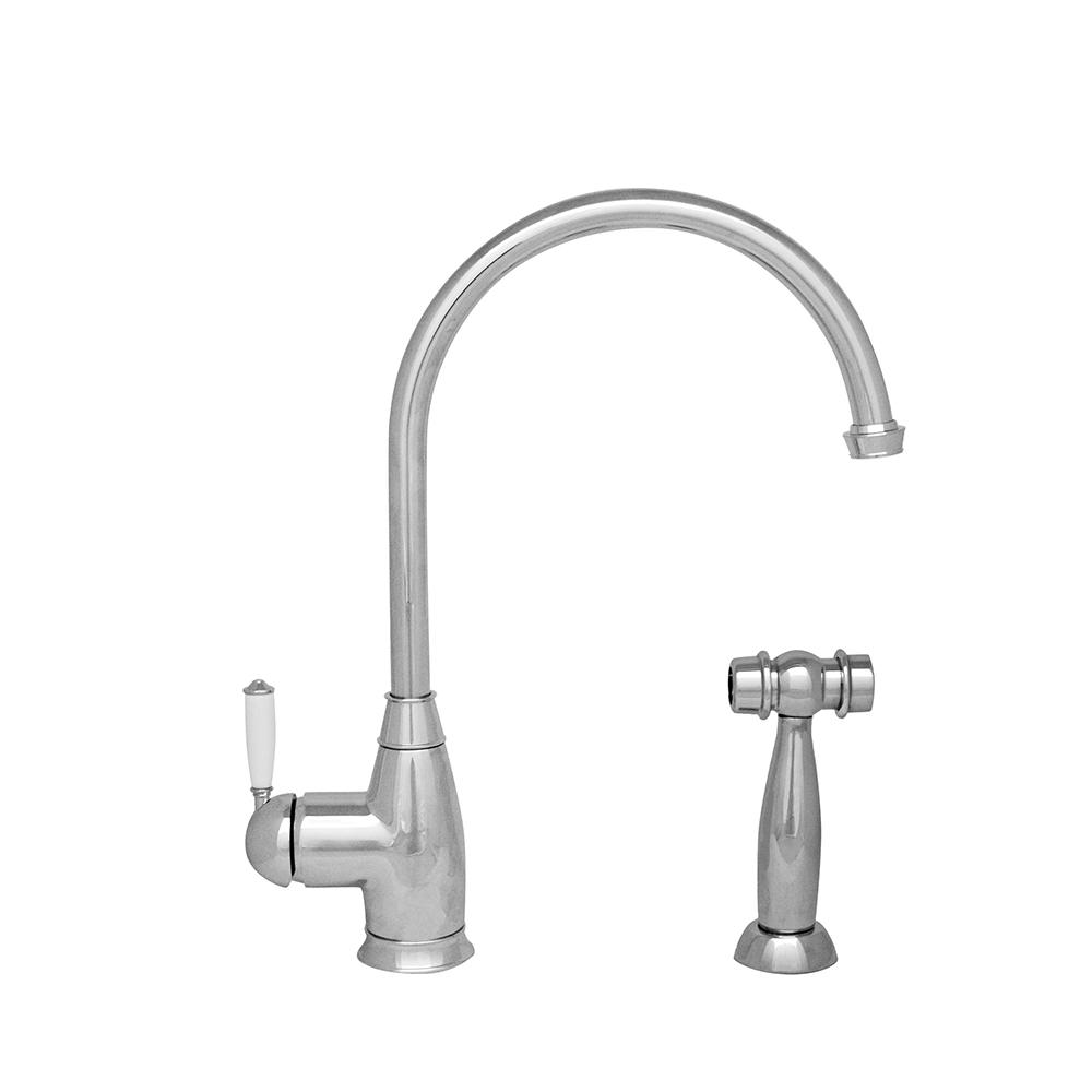 Queenhaus Single Lever Faucet with Long Gooseneck Spout, Porcelain Single Lever Handle and Solid Brass Side Spray