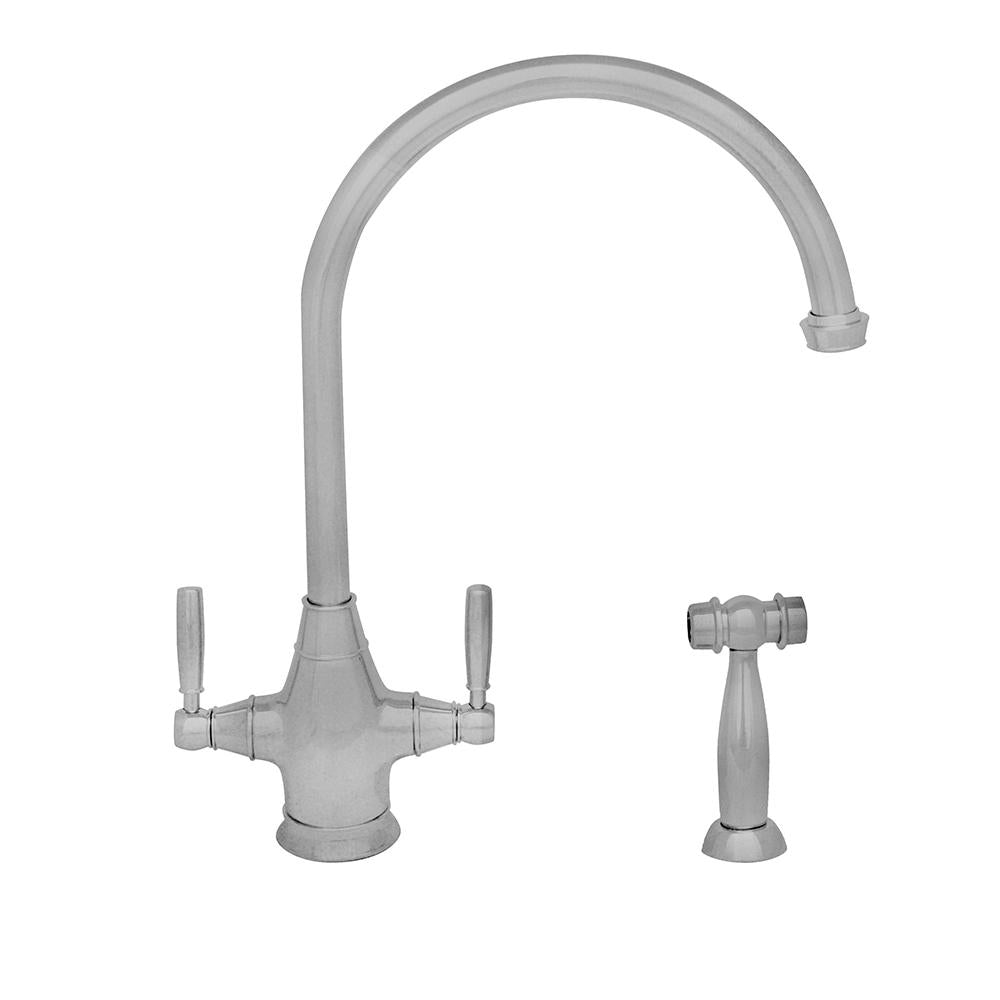 Queenhaus Dual Handle faucet with Long Gooseneck Spout, Solid Lever Handles and Solid Brass Side Spray