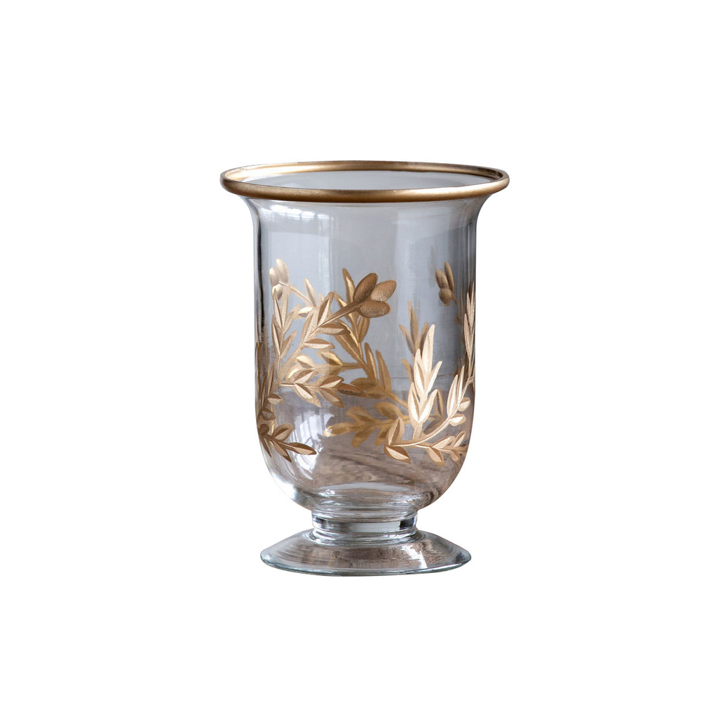 Golden Leaf Footed Vase