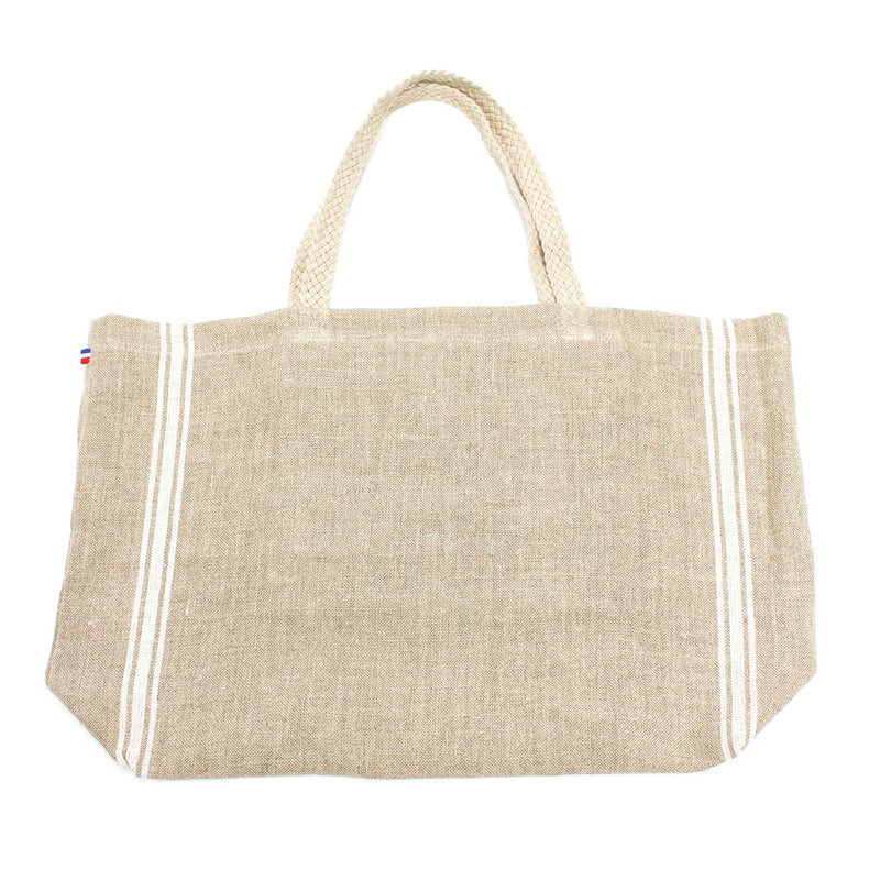 French Linen Market Tote with Braided Handle