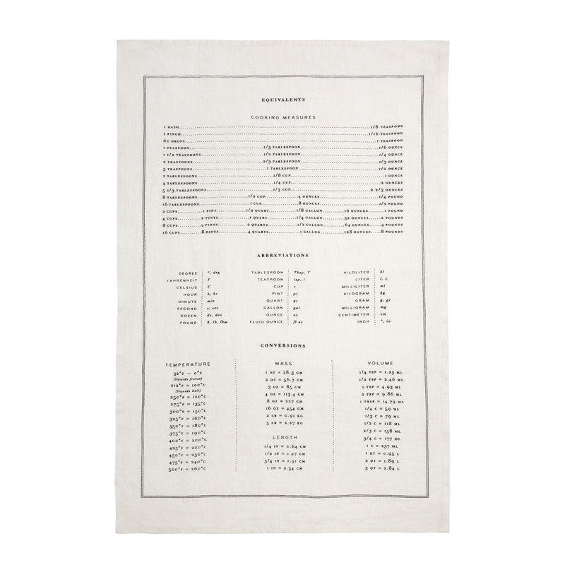 Measurements - Linen Tea Towel