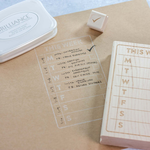Weekly Planning Stamp Collaboration with Paper Sushi and LeeMo Designs in Bend, OR