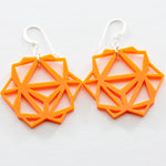 Orange Laser Cut Geometric Oridama Acrylic Earrings