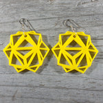 Yellow Laser Cut Geometric Oridama Acrylic Earrings