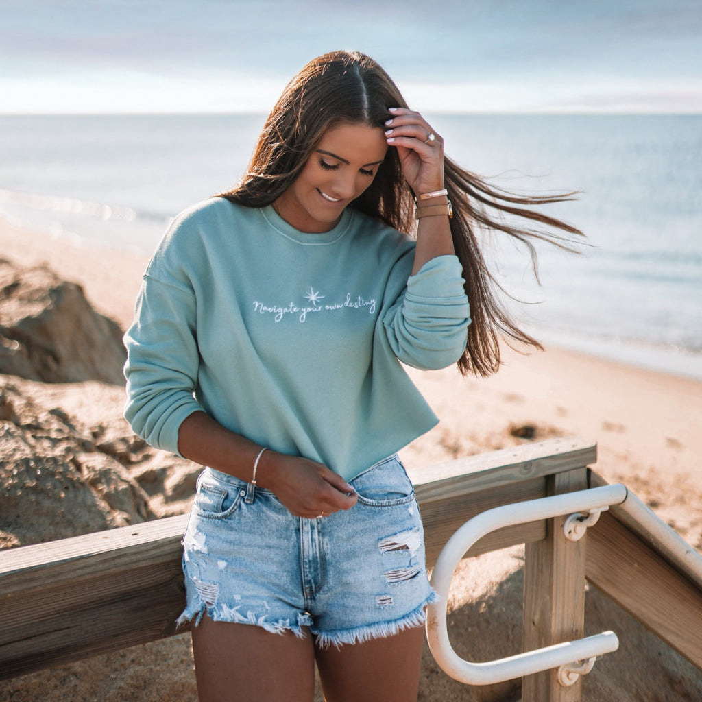 Navigate Your Destiny Cropped Crew - Sea Foam