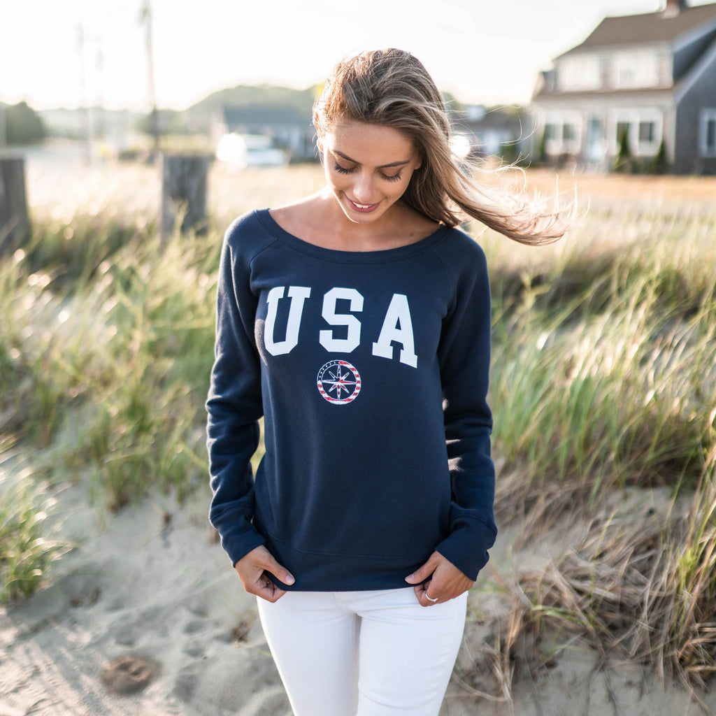 USA WIDE NECK CREW - NAVY