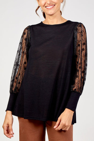 Black top with lace sleeves