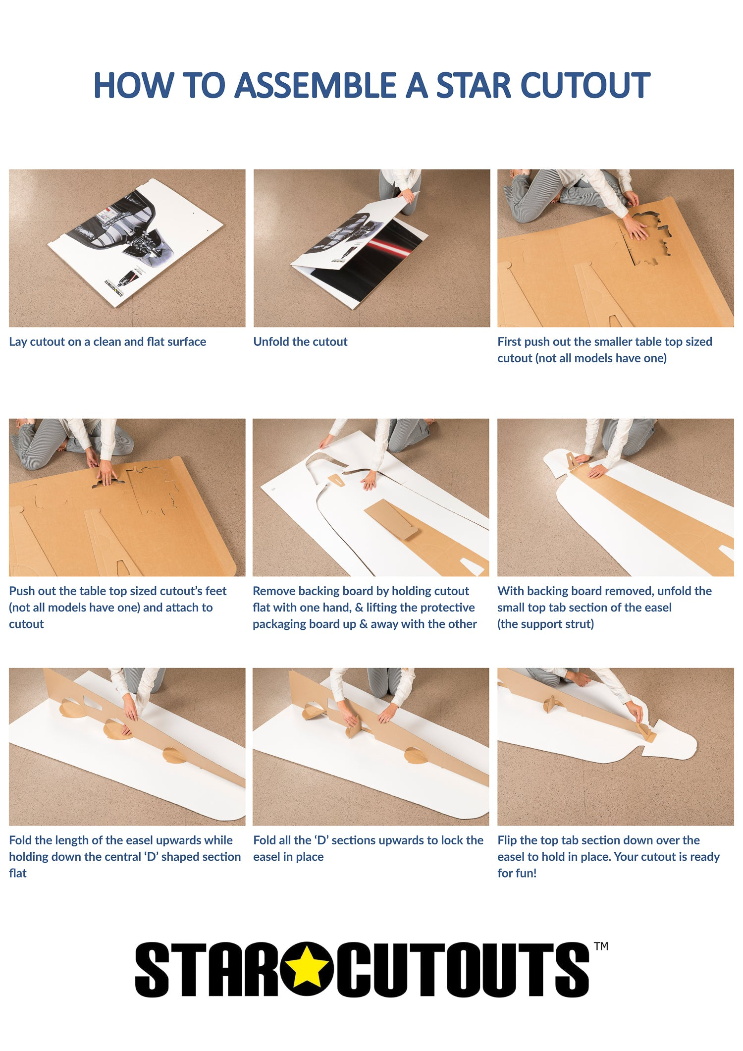 Standard Assembly Instructions for Cardboard Cutouts