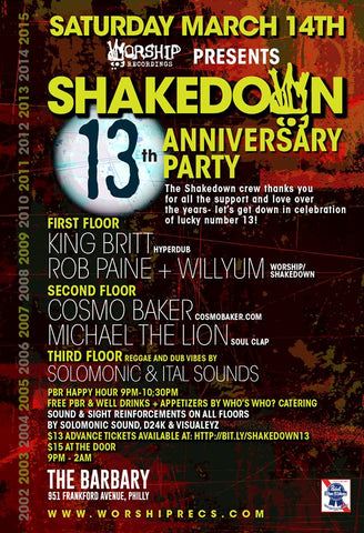 SHAKEDOWN: 13th Anniversary Party Contest!