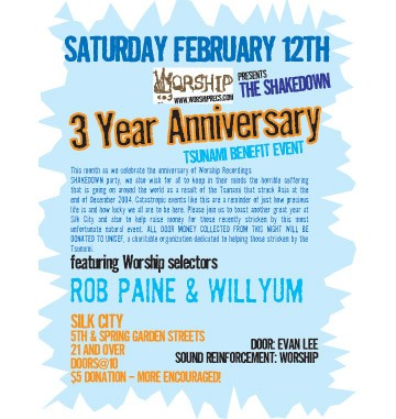 THE SHAKEDOWN 3 YEAR / TSUNAMI BENEFIT PARTY