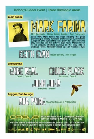 July 24th @ Crave w/ Mark Farina, Detroit MI