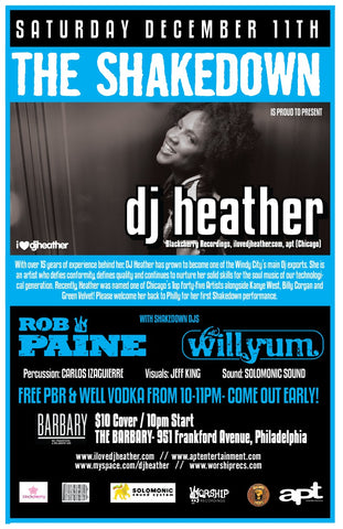 DJ Heather plays the SHAKEDOWN this Saturday Dec 11th! Sister Nancy Show next Thur! NYE & more!!!