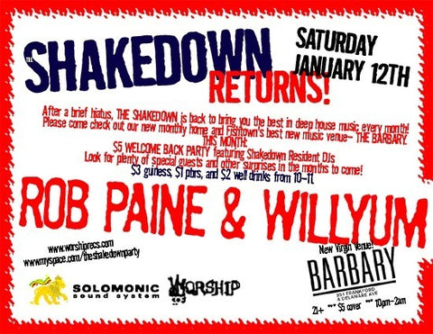SHAKEDOWN IS BACK TO EVERY SECOND SATURDAY!!!