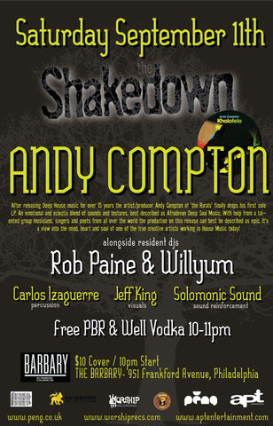 This Saturday ANDY COMPTON from The RURALS plays the SHAKEDOWN! Free Audio & Much More!
