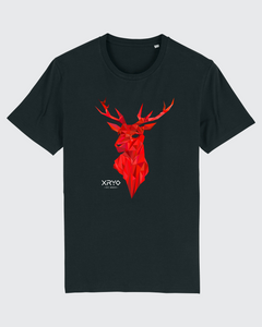 Geometric Crimson Stag Tee Black