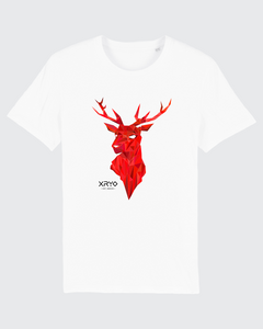 Geometric Crimson Stag Tee White