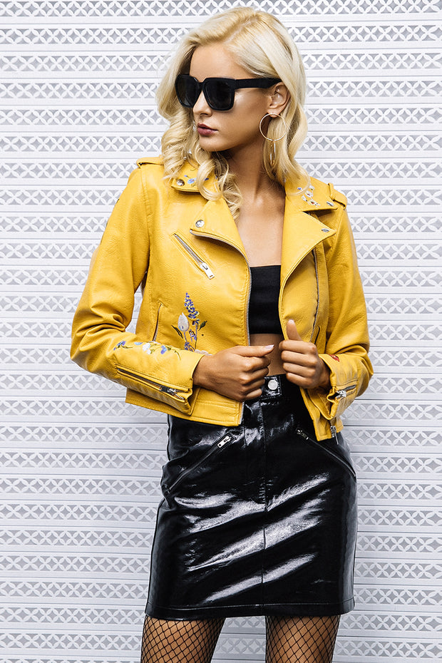 DARCY Embroidery Leather Jacket