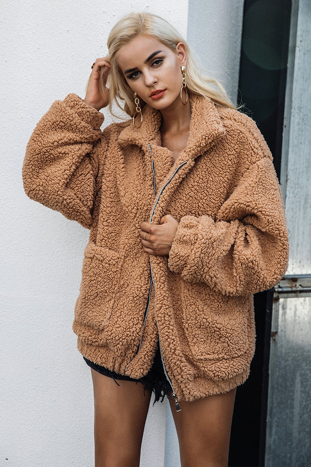 DENISE Faux Lambswool Coat