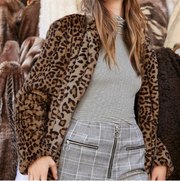 DENISE Leopard-Print Furry Woolen Coat