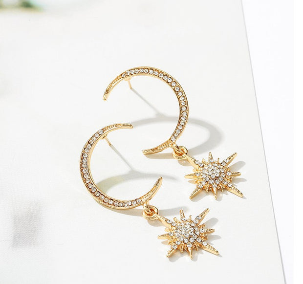 Crescent Star Stud Earrings