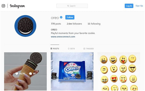 Instagram page of Oreo