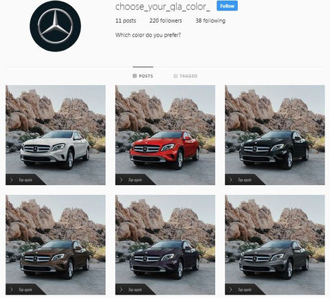 Choose Mercedes-Benz GLA Color Instagram Mapped Ad