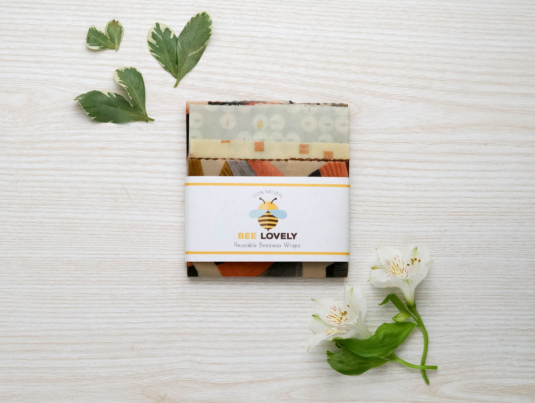 Organic Variety set of 5 Beeswax Food Wraps. It's an eco-concious product that is both sustainable and compostable