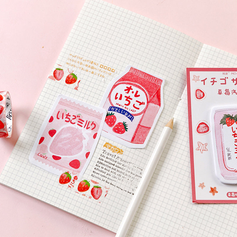 Pack of 30 Strawberry Drink Stickers