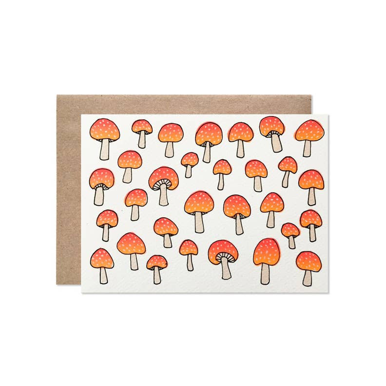 Hartland Brooklyn - Neon Mushrooms Card Set Of 8