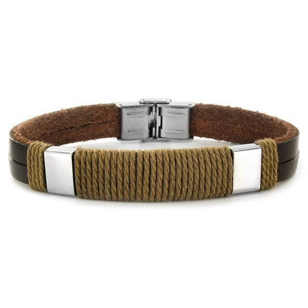 West Coast Jewelry - Crucible Accent Twisted Rope Leather Bracelet
