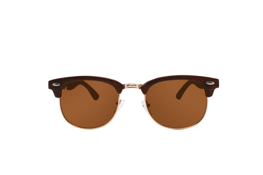 Swole Panda - Bamboo Clubmasters Sunglasses - Brown Lense