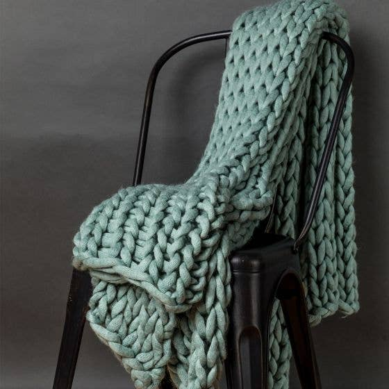 Aqua Chunky Large Knit Throw