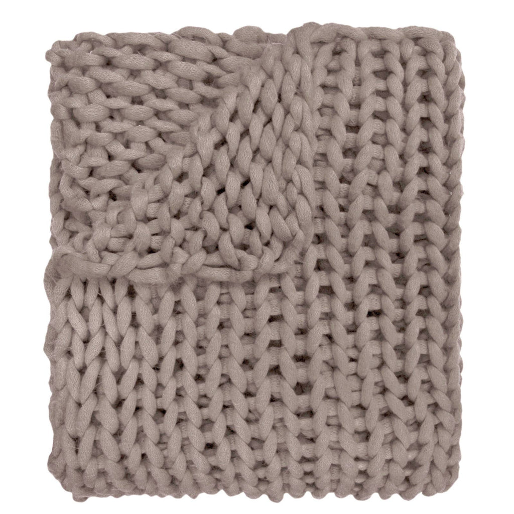 Taupe Chunky Large Knit Throw