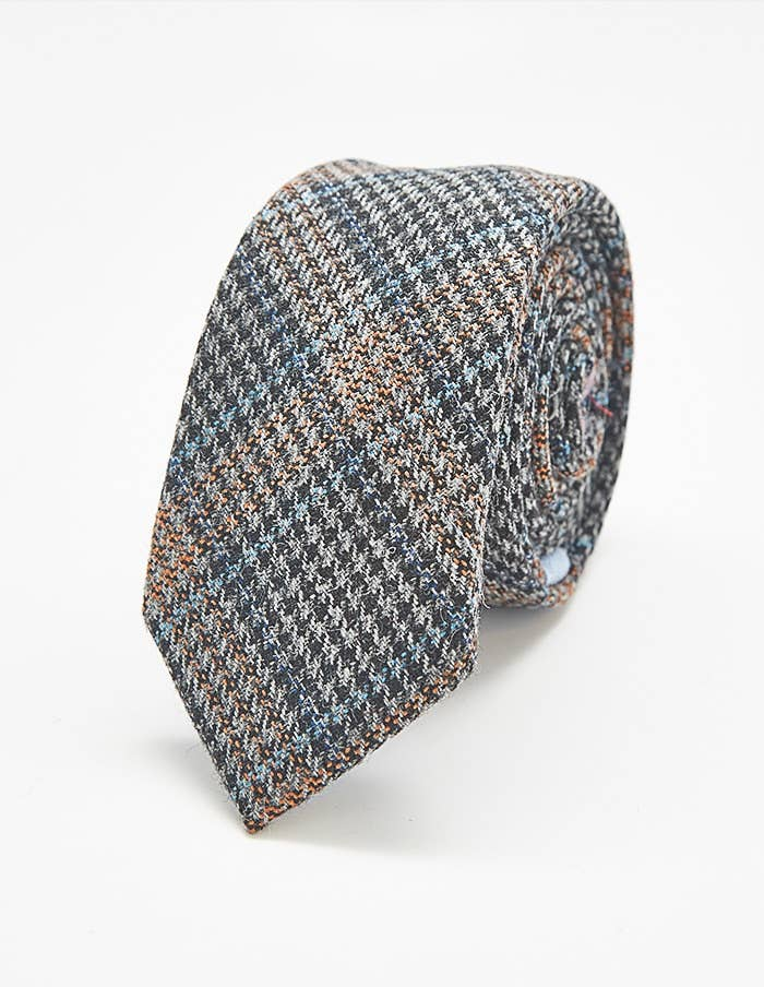 Admiral Row - Tan and Grey Plaid Skinny Tie